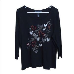 Karen Scott long sleeve hearts Valentines XL